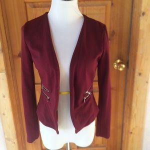 MOSAIC AND CO RED COTTON BLEND SWEATER JACKET S
